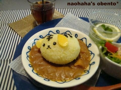 Super cute Mameshiba Curry rice dish by naohaha's obento
