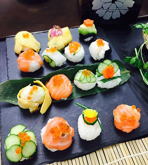 Beautiful rice balls with floral designs