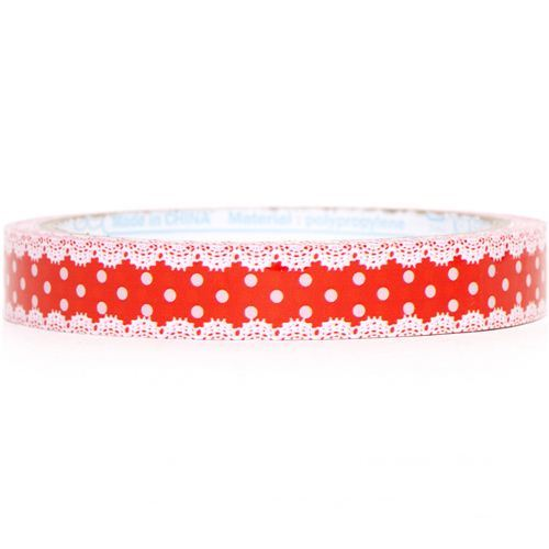 red Sticky Tape with white polka dots & laces