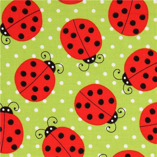 green ladybird fabric with dots by Robert Kaufman