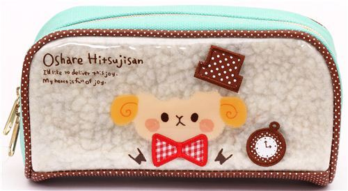 turquoise sheep animal pencil case by Kamio from Japan