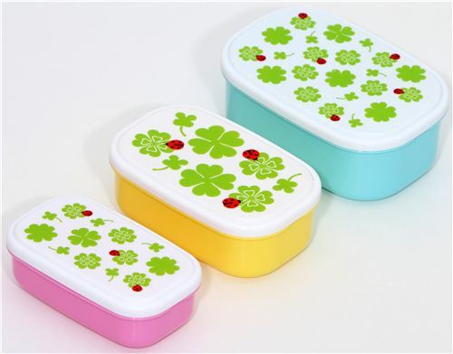 cute cloverleaves Lunch Box Bento Box 3 pcs