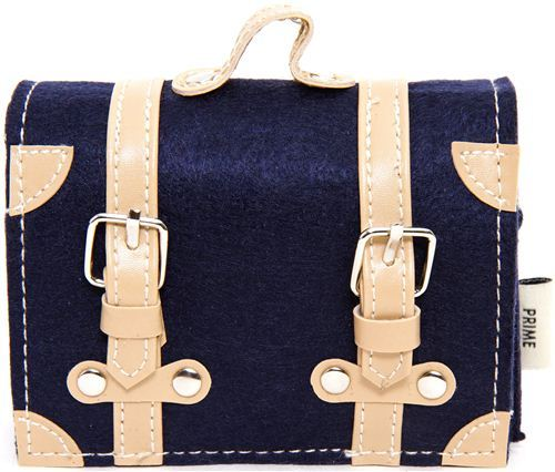 cute blue mini felt shoulder bag with leather strap