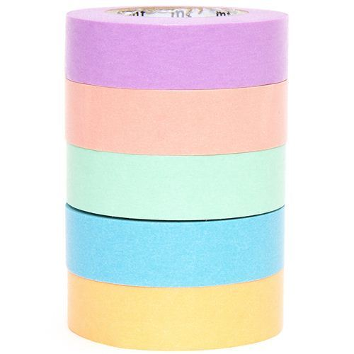 mt Washi Masking Tape deco tape set 5pcs with 5 colours
