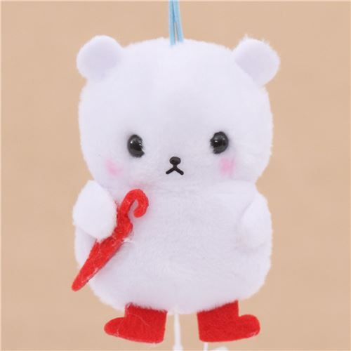 soft white bear with red umbrella plush charm by