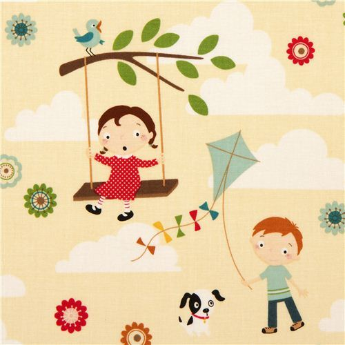 cream Riley Blake children fabric swing kite