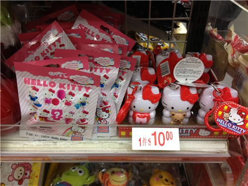 cute Hello Kitty toys in one of the 7-Eleven shelves