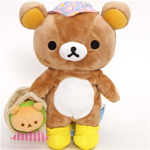 Rilakkuma plush toy brown bear with picnic basket