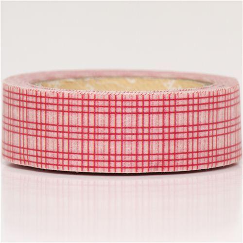 red grid pattern Washi Masking Tape deco tape