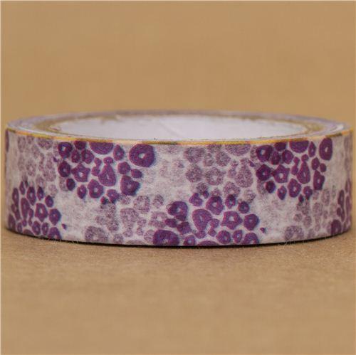 white Washi Masking Tape deco tape with purple flowers