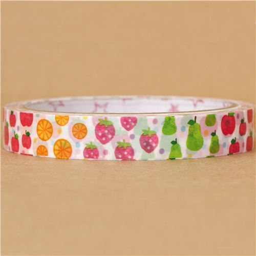 white fruit deco tape sticky tape apple pear strawberry