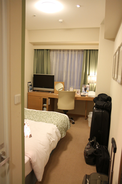 our hotel room in Shinjuku. The hotel was really nice, but hotel rooms in Tokyo are very small.