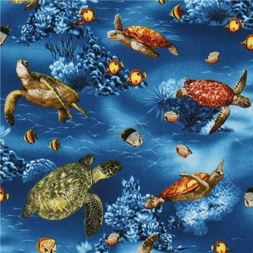 blue turtle fabric with fishes Robert Kaufman