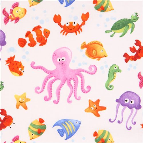 white cute colorful fish octopus crab fabric Little Mermaids