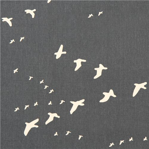 dark grey bird animal canvas organic fabric birch USA