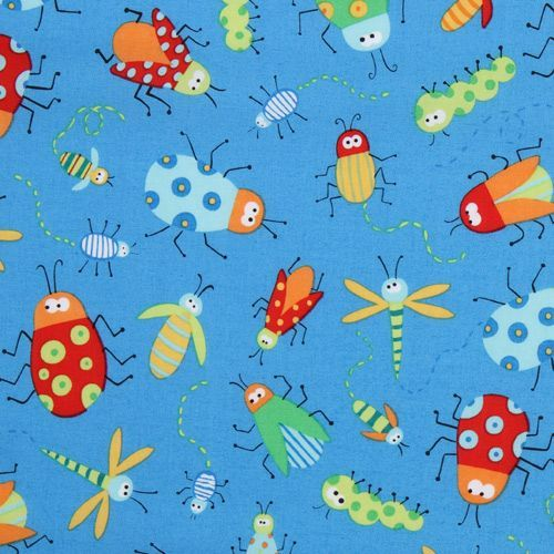 blue insects fabric Beetle Boy USA designer