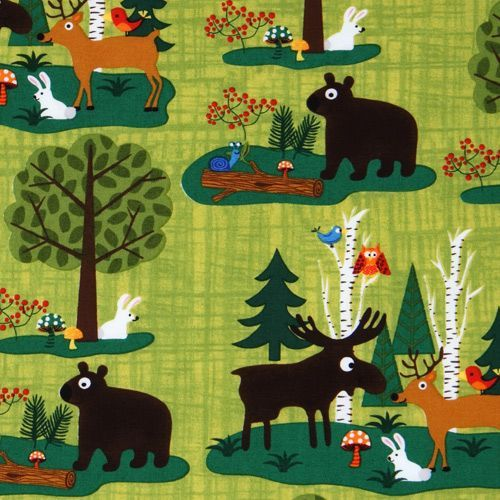 green forest friends fabric Woodland Friends USA design