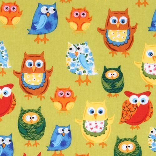 olive colored owls fabric Woodland Friends USA designer