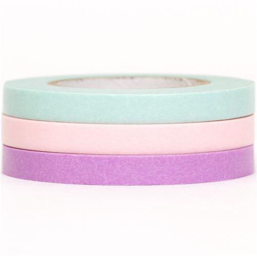 slim mt Washi Masking Tape deco tape set 3pcs turquoise pink