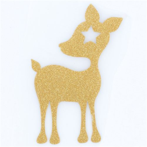 cute mini deer velour iron-on golden with star
