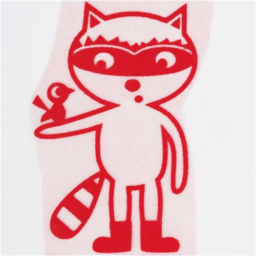 cute raccoon with bird velour iron-on red