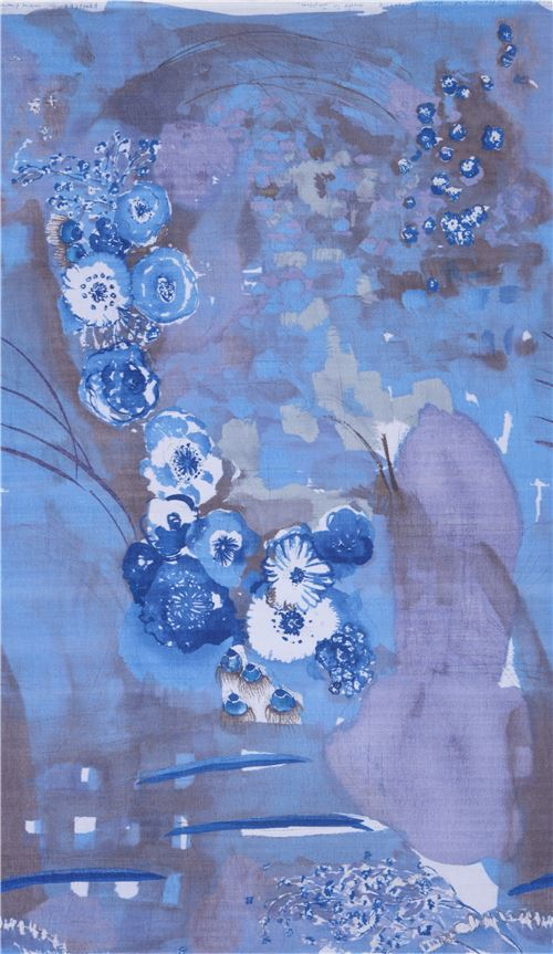 blue Kokka double gauze beautiful flower nani iro fabric from Japan