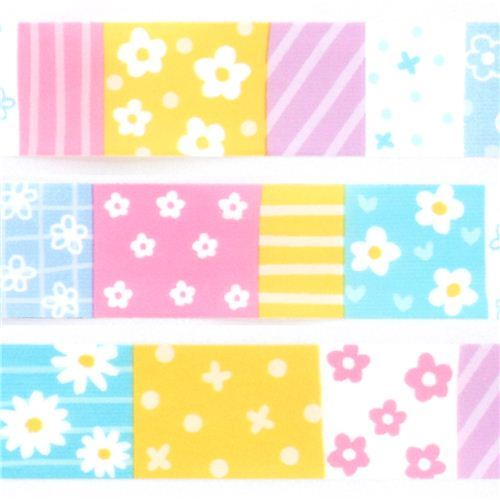 colorful flower square pattern deco sticky tape
