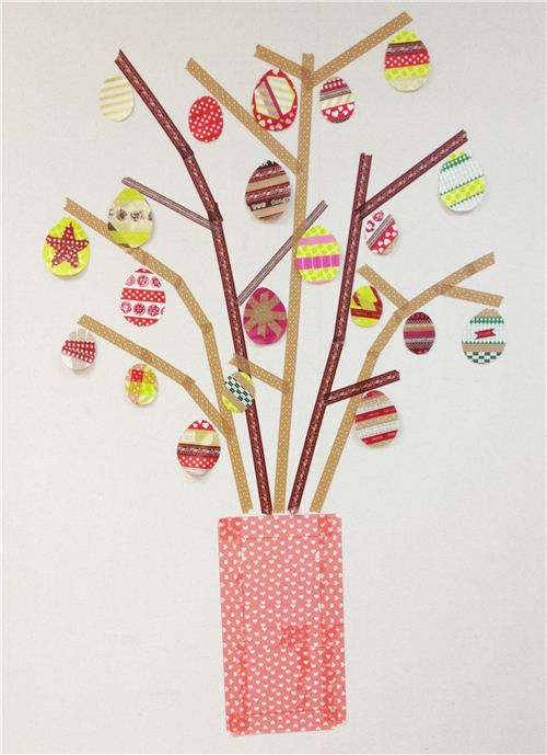 A colourful Easter tree we made from Washi Tape