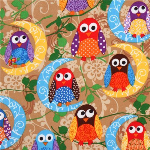 What a Hoot brown owl flannel fabric designer fabric