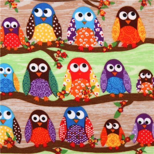 What a Hoot green-brown owl flannel fabric designer fabric