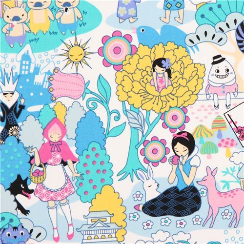 kawaii Japanese Anime fairy tale fabric blue Snow White