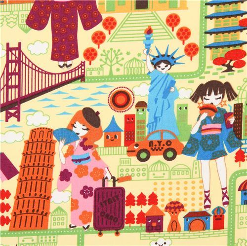 yellow travel anime Asia fabric Trans-Pacific Textiles USA
