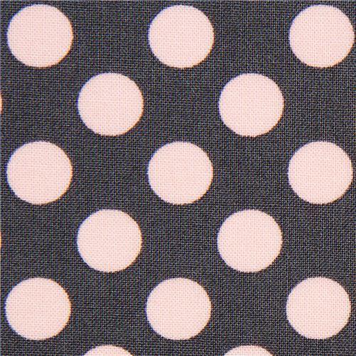 grey Michael Miller fabric pink polka dots