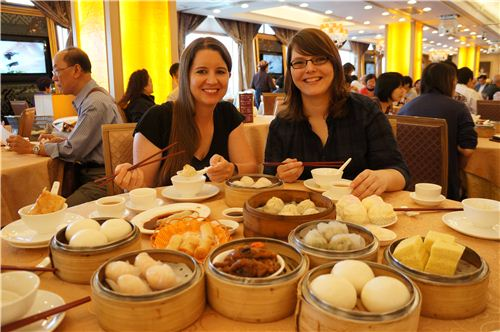Bianca and I eating Dim Sum in the Chinese Restaurant