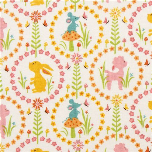 animal fabric with rabbit lamb mouse by Riley Blake USA