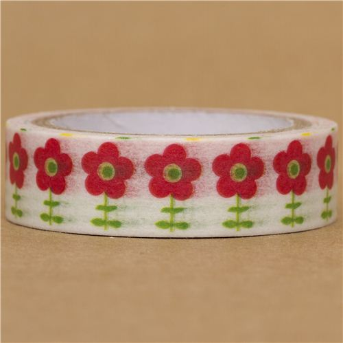 white flower Washi Masking Tape deco tape