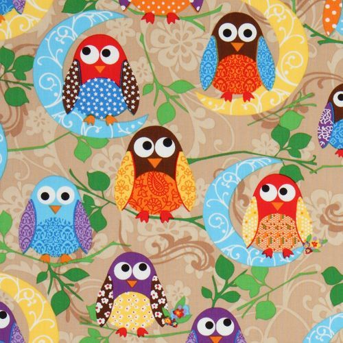 cute brown owls fabric What a Hoot USA designer