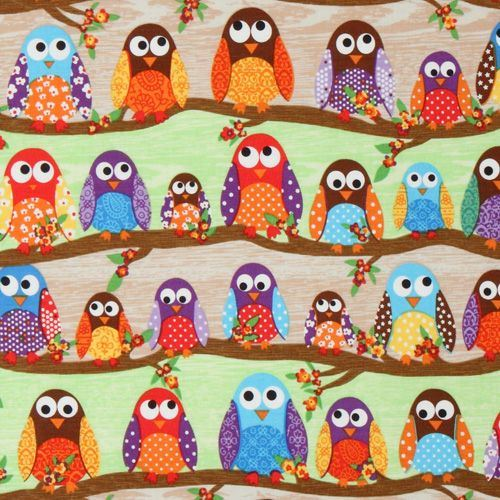 cute colourful owls fabric What a Hoot USA designer