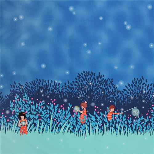 border fabric Summer Night Lights Twilight Michael Miller