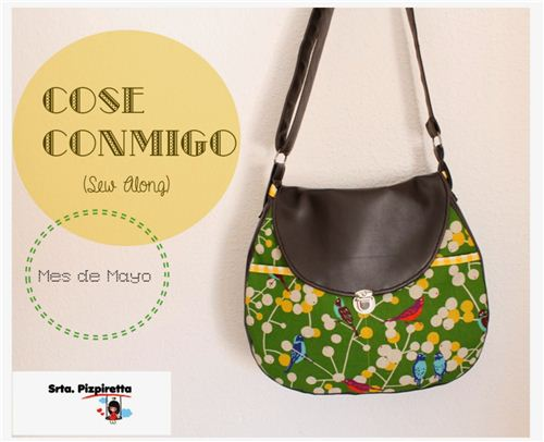 Srta. Pizpiretta from Spain sewed a handbag with our echino fabric