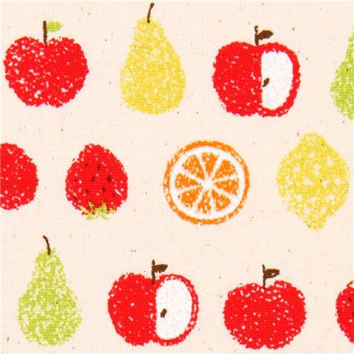 natural-colored fruit apple pear poplin fabric Cosmo Japan