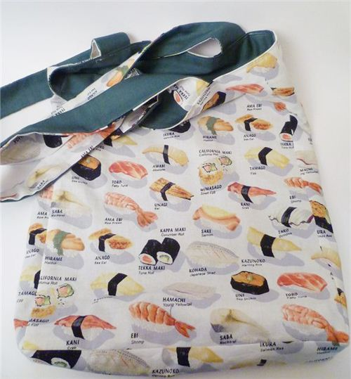 A German customer sewed this wonderful bag from our sushi fabric