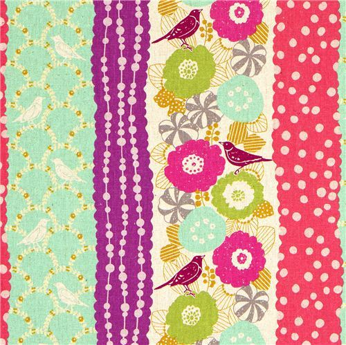 echino canvas fabric birds stripes turquoise from Japan