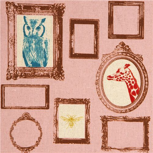 old rose echino laminate fabric Frame owl giraffe deer