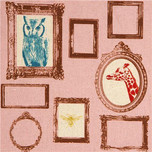 old rose echino laminate fabric Frame owl giraffe deer