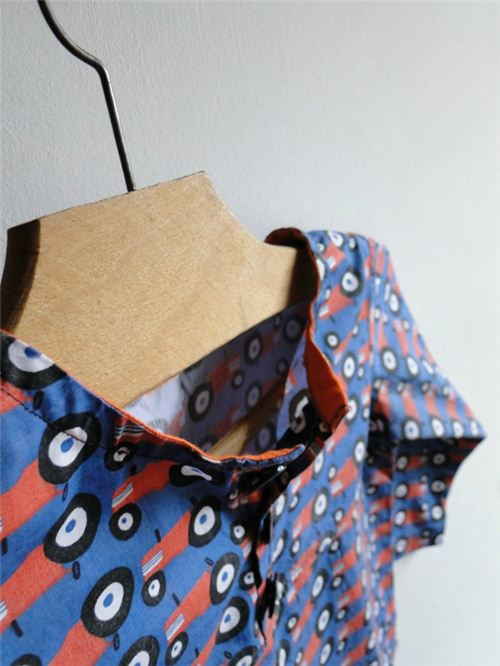 Our monaluna tractor organic fabric is really a fun design to make boy's clothing
