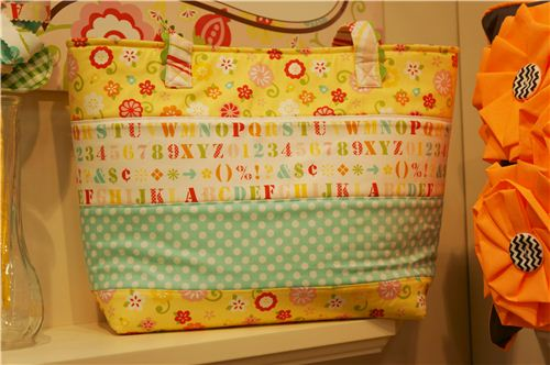 A colourful bag which combines different cute fabrics