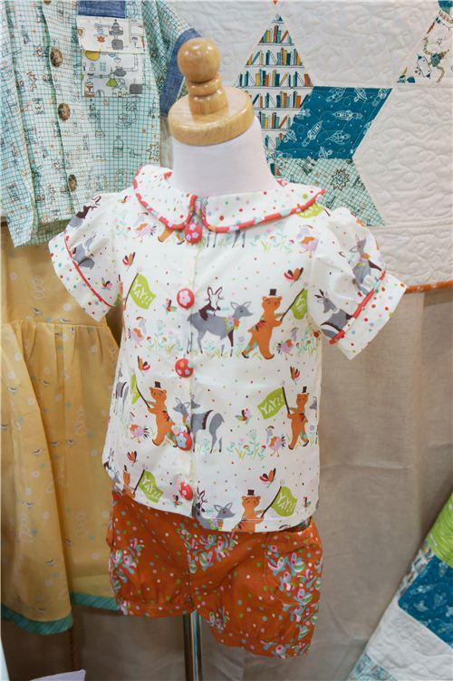 An adorable children's blouse and shorts made with birch fabrics