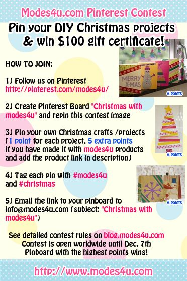 Join our Christmas Pinterest contest to win a 100USD voucher for our shop