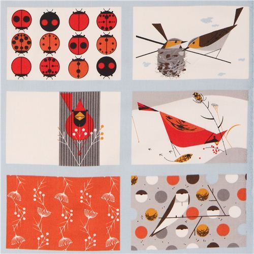 Patchwork bird ladybug organic fabric birch Cardinal Patch
